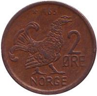 Курица. Монета 2 эре. 1963 год, Норвегия.