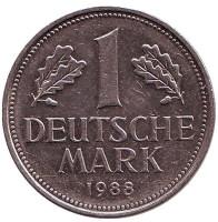 Монета 1 марка. 1988 год (D), ФРГ. Из обращения.