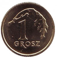 Дубовый лист. Монета 1 грош. 2017 год, Польша.