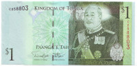 Король Тонга Георг Тупоу V. Банкнота 1 паанга. 2009 год, Тонга. (Тип 2).