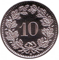 Монета 10 раппенов. 2015 год, Швейцария. UNC.