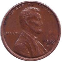 Линкольн. Монета 1 цент. 1972 год (S), США.