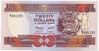 Банкнота 20 долларов. 1986 год, Соломоновы острова.