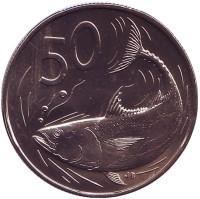 Тунец. Монета 50 центов. 1974 год, Острова Кука.