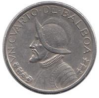 Васко Нуньес де Бальбоа. Монета 1/4 бальбоа. 2001 год, Панама.