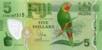 Попугай. Банкнота 5 долларов, 2012 год, Фиджи.