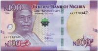 100 лет существования Нигерии. Банкнота 100 найра. 2014 год, Нигерия.