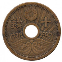 Монета 10 сен. 1940 год, Япония.