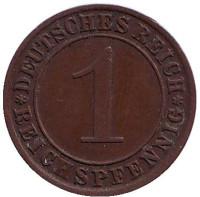 Монета 1 рейхспфенниг. 1929 (А) год, Веймарская республика.