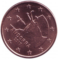 Серна. Монета 5 центов. 2017 год, Андорра.