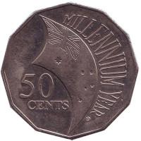 Миллениум. Смена тысячелетия - 2000 год. Монета 50 центов. 2000 год, Австралия.