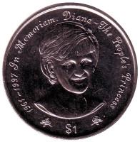 Принцесса Диана. (В память о Принцессе Диане). Монета 1 доллар, 1997 год, Ниуэ.