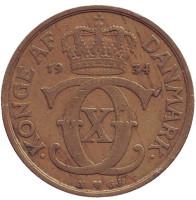 Монета 1 крона. 1934 год, Дания.