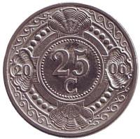 Цветок апельсинового дерева. Монета 25 центов. 2006 год, Нидерландские Антильские острова.