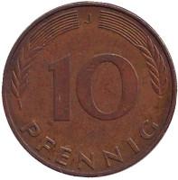 Дубовые листья. Монета 10 пфеннигов. 1991 год (J), ФРГ.