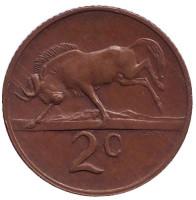 Белохвостый гну. Монета 2 цента. 1980 год, Южная Африка.