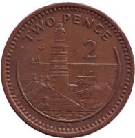 "Маяк. Монета 2 пенса. 1988 год, Гибралтар. (Отметка ""AD"")"