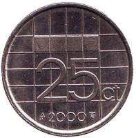 Монета 25 центов. 2000 год, Нидерланды.