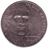 Джефферсон. Монтичелло. Монета 5 центов. 2007 год (P), США.