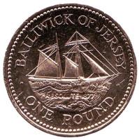 """Шхуна """"Резолют"""". Монета 1 фунт. 2006 год, Джерси."""