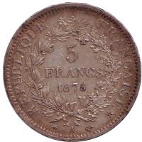 Геркулес. Монета 5 франков. 1875 год (A), Франция.