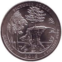 Национальные озёрные побережья живописных камней. Монета 25 центов (P). 2018 год, США.