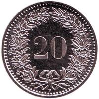 Монета 20 раппенов. 2016 год, Швейцария. UNC.
