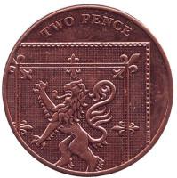 Монета 2 пенса. 2011 год, Великобритания.