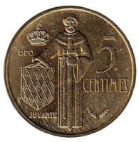 Монета 5 сантимов. 1978 год, Монако.