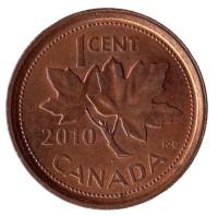 Монета 1 цент. 2010 год, Канада. Из обращения.