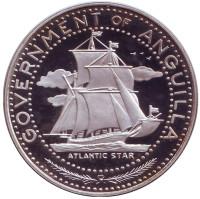 Парусник. Монета 4 доллара. 1970 год, Ангилья.