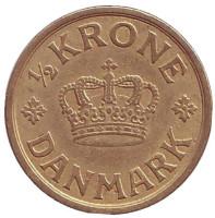 Монета 1/2 кроны. 1924 год, Дания.