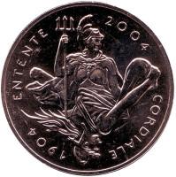 100 лет Англо-французскому «сердечному соглашению». Монета 5 фунтов. 2004 год, Великобритания.
