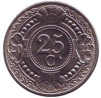 Цветок апельсинового дерева. Монета 25 центов. 2012 год, Нидерландские Антильские острова.