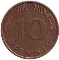 Дубовые листья. Монета 10 пфеннигов. 1994 год (D), ФРГ.