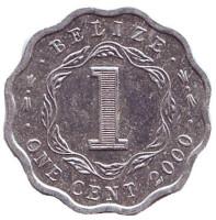 Монета 1 цент, 2000 год, Белиз.