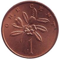 Аки. (Блигия вкусная). Монета 1 цент, 1970 год, Ямайка. aUNC.