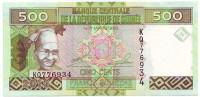 Банкнота 500 франков. 2012 год, Гвинея.