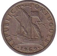 Монета 2,5 эскудо. 1969 год, Португалия.