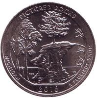 Национальные озёрные побережья живописных камней. Монета 25 центов (D). 2018 год, США.
