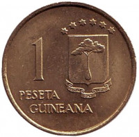 Монета 1 песета. 1969 год, Экваториальная Гвинея.