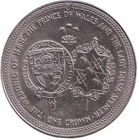 Свадьба Принца Чарльза и Леди Дианы. Гербы. Монета 1 крона. 1981 год, Остров Мэн.