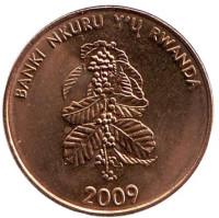 Цветок кофейного дерева. Монета 5 франков. 2009 год, Руанда. UNC.