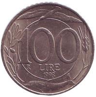 Монета 100 лир. 1998 год, Италия.