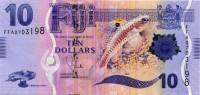 Белая рыба. Банкнота 10 долларов. 2012 год, Фиджи.
