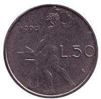 Бог огня Вулкан у наковальни. Монета 50 лир. 1990 год, Италия.