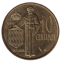 Монета 10 сантимов. 1977 год, Монако.