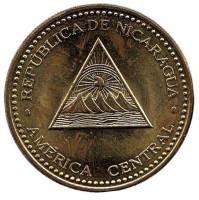 Горы-вулканы. Монета 25 сентаво. 2007 год, Никарагуа. Из обращения.