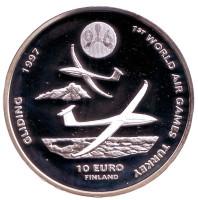 Всемирные воздушные игры в Турции. Планеры. Монета 10 евро. 1996 год, Финляндия.