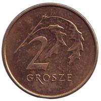 Дубовые листья. Монета 2 гроша. 2012 год, Польша.